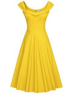 MUXXN Womens 1950s Scoop Neck Off Shoulder Cocktail Dress: Amazon Fashion