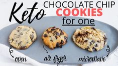 45 Second KETO CHOCOLATE CHIP COOKIE FOR ONE | Cooked 3 Ways - Air Fryer, Microwave, Oven Microwave Chocolate Chip Cookie, Microwave Cookies, Keto Chocolate Chip Cookies, Chocolate Biscuits, Low Carb Chocolate, Microwave Oven, Sugar Free Cookies, Keto Cookies, Healthy Cookies