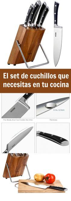 Aicok Cuchillos de Cocina 6 Cuchillos Juego de Cuchillos Ergonómicos de Acero Inoxidable con Bloque en Madera