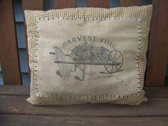 Primitive Rag Stuffed Mustard Check Homespun Pillow With Harvest Feedsack Logo Autumn And Fall Decor