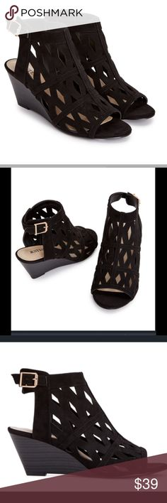 """Black Trendy Wedges With Cutouts 2.25"""" wedge height. Gives you the trendy look without a too high height.  Cute & comfortable. Shoe Dazzle Shoes Wedges"""