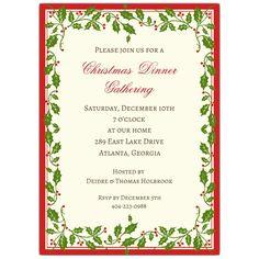 Holly+Ribbon+Red+Border+Christmas+Invitations