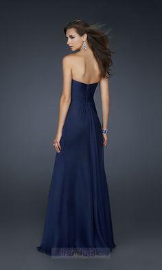 Cache A-line Strapless Floor-length Chiffon Blue Prom Dresses - $116.99 - Trendget.com