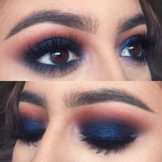 Eye Makeup Tips.Smokey Eye Makeup Tips - For a Catchy and Impressive Look Pretty Makeup, Love Makeup, Makeup Inspo, Makeup Inspiration, Beauty Makeup, Navy Eye Makeup, Makeup Ideas, Blue Makeup Looks, Maquillage Mary Kay