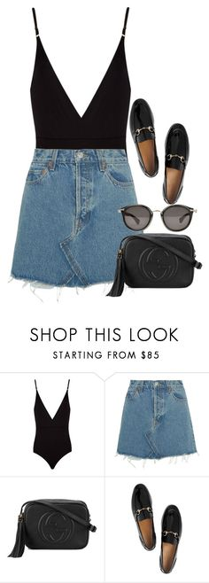 """Untitled #3119"" by elenaday ❤ liked on Polyvore featuring Osklen, RE/DONE, Gucci and Moncler"