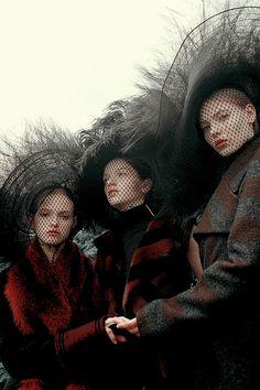 """ """"Sisterhood"" Avery Blanchard, Katya Ledneva and Eva Klimkova By Michal Pudelka for Vogue Japan October 2015 "" """