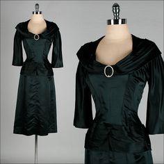 Vintage 1950s Dress  Black Satin  Suzy by millstreetvintage, $245.00