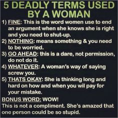 Good Lord!!  I'm guilty of all 5 AND the bonus word  :p  men take note, this is sooo true