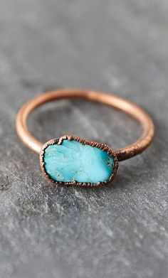 A tiny turquoise nugget centers this electroformed copper ring from Hawkhouse. Born in Lincoln, Nebraska, self-taught metal artist Jessica Kramer of H I Love Jewelry, Jewelry Box, Jewelery, Jewelry Accessories, Fashion Accessories, Wire Jewelry, Copper Rings, Looks Style, Diamond Are A Girls Best Friend
