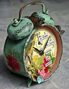 @Christina Childress & Bloodworth. Let's decorate cute clocks and not actually put batteries in them so they don't make that blasted ticking noise