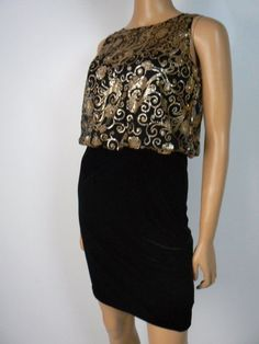 Hailey by Adrianna Papell Black Velour Gold Sequin Blouson Dress