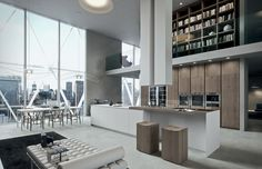 Cucina in PaperStone, Laccato, Rovere Termocotto Tranchè e Corian - Ak_04 | Arrital Cucine