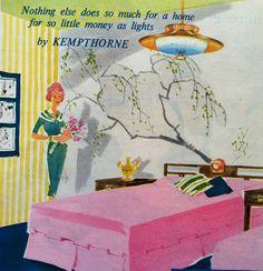Kempthorne lighting advertisement  1957 interior decor. https://australianmodern.wordpress.com