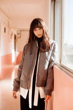 Japan landscape and nature of four seasons with cute girls Japanese Models, Japanese Girl, Cute Girls, Cool Girl, Street Wear, Raincoat, Bomber Jacket, Winter Jackets, Leather Jacket