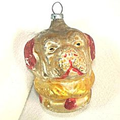 Double Face Spaniel Dog Antique German Glass Christmas Ornament.   Click on the image for more information.