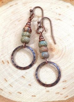 Wholesale Discount Jewelry Rustic, boho earrings with antiqued copper. Wholesale jewelry available Beaded Tassel Earrings, Copper Earrings, Stone Earrings, Copper Jewelry, Beaded Earrings, Wire Jewelry, Boho Jewelry, Earrings Handmade, Jewelry Gifts