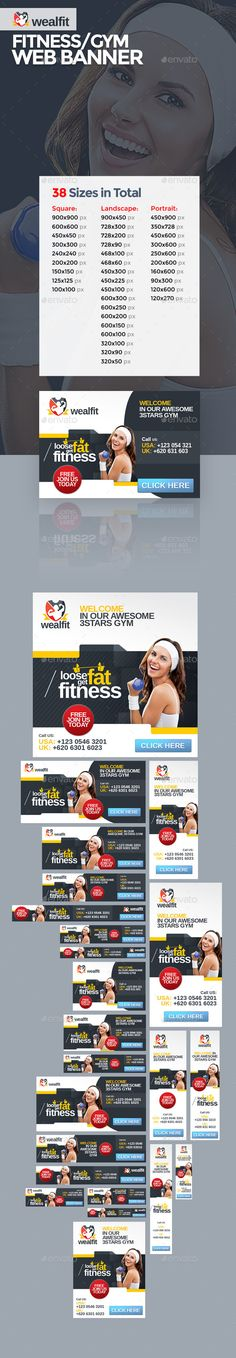 WealFit | Fitness - Gym Web Banner Template PSD | Buy and Download: http://graphicriver.net/item/wealfit-fitness-gym-web-banner/10092326?ref=ksioks