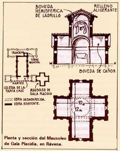 Planta y sección del Mausoleo de Gala Placidia, en Rávena.