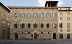 Palazzo Gondi, Florence, Italy. The Palace, with its facades rising in three orders of rusticated pietra forte, was designed in 1489 by the architect Giuliano da Sangallo for the banker Giuliano Gondi the Elder, over the ruins of the ancient Roman Theatre, on which had been constructed a building that also housed the studio of the Notary Ser Piero da Vinci, Leonardo's father.