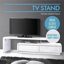 High Gloss TV Stand Entertainment Unit Adjustable Lowline Drawers Cabinet White