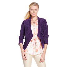 G by @Giuliana Rancic Perforated Suede Draped Blazer #EggPlant