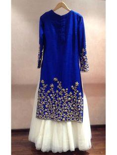 Blue with White Karishma Kapoor Bollywood Replica Designer Party Wear Lehenga Anarkali