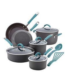 This Agave Blue Hard-Anodized 12-Piece Cookware Set by Rachael Ray is perfect! #zulilyfinds