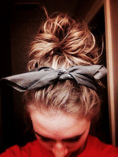 Messy bun with a bandana for lazy hair day. Perfect.