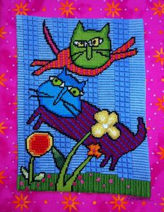 2 Cats. Original needlepoint design.