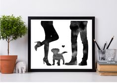 Dog announcement, Couple and dog print, Couple and puppy, High heels, Puppy adoption, Dog adoption, Dog parents gift, Instant download Dog Mom Gifts, Gifts For New Parents, Parent Gifts, Gifts For Family, Handmade Shop, Etsy Handmade, Handmade Items, Creative Gifts, Creative Ideas