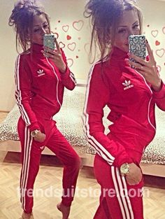 Article CDF00088 #zipup #tracksuit Order of this product only by wholesale catalog at our website.Stylish womens 3 stripes zip up red tracksuit bottoms.