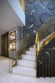 The Next Level: 14 Stair Railings to Elevate Your Home Design - Raumteiler Metal Staircase Railing, Stair Railing Design, Home Stairs Design, Interior Stairs, Interior Exterior, House Design, Interior Design, Staircase Walls, Staircase Architecture