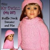 """Doll Clothes, Sweater and Hat 604- lots of patterns for 18"""" dolls"""
