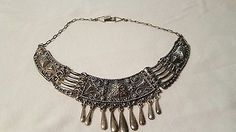Vintage-intricate-Ethnic-Style-Choker-Necklace-Marked-Silver-on-Unusual-Clasp