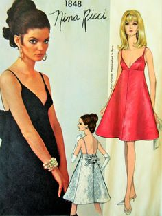 Vintage Vogue 1848 Sewing Pattern, Nina Ricci, 1960s Dress Pattern, Vogue Paris Original, Sew In Label, Bust 34, A Line Dress, Evening Dress by sewbettyanddot on Etsy