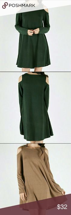 Forest green cold shoulder dress Brand new in packaging  55% cotton 35% polyester & 10% spandex  Very comfortable  And classy, add a cute belt for a more fitted look  This is my lowest on this item .  Size small fits 1-4 Medium fits  6-8 Large fits 8-11 Dresses Midi