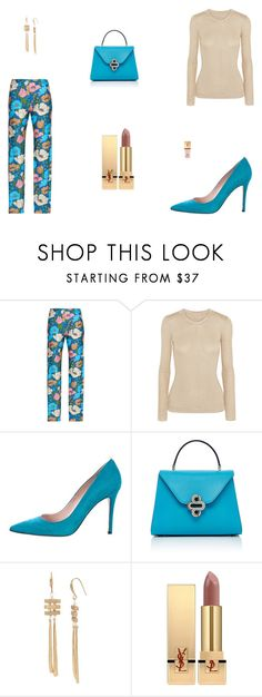 """""""Untitled #9373"""" by mie-miemie ❤ liked on Polyvore featuring Emilia Wickstead, Sarah Jessica Parker, Robert Lee Morris and Yves Saint Laurent"""