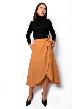Φούστα μίντι wrap μουσταρδί SKI026 Waist Skirt, High Waisted Skirt, Vintage Skirt, Mustard, Skirts, Fashion, Moda, High Waist Skirt, Skirt
