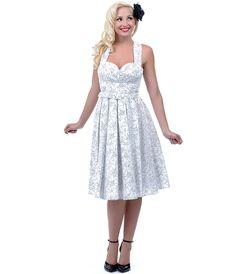 1950s Style Carmen White Rose Haute Marseilles Dress