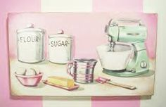 For the Love of Baking by Everyday is a Holiday #wood #sign #painting#vintage #kitchen#bakery #art#pink #mixer #retro