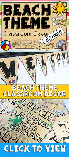 Enjoy decorating your elementary classroom and bulletin boards in this creative and clean beach summer theme.