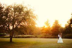 Romantic sunset wedding photo.