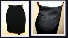 Escada by Margaretha Lea Midnight Blue New Wool Vintage 1980s High Waist Pencil Skirt by InspirationVintage