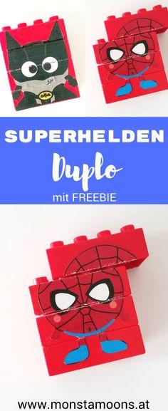 Duplo Puzzle, Superhelden Duplo, Baustein Puzzle, Spiderman craft, Batman craft, Superhelden basteln, Heroe DIY, heroe crafts