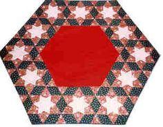 Mønster til Majbrit Juletræstæppe Med 12 Stjerner som måler 120 x 130 cm.