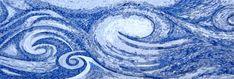 LS003 Ocean Waves Handmade Marble Mosaic Backsplash - Mosaic Natural Mosaic Artwork, Mosaic Wall Art, Marble Mosaic, Tile Art, Mosaic Glass, Stained Glass, Mosaic Backsplash, Kitchen Mosaic, Mosaic Art Projects
