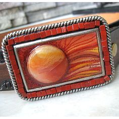 belt buckle sunset red orange desert sun and by LonesomeRoadStudio, $55.00