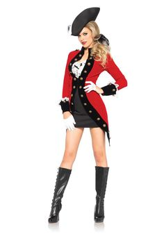 Capture the attention of anyone on land and at sea this Halloween with our bold Racy Red Coat Sexy Pirate Costume. The fitted black dress comes with a vibrant red overcoat, ribbon hair tie and matching tri-corn hat. Costumes Sexy Halloween, Sexy Pirate Costume, Halloween Kostüm, Girl Costumes, Adult Costumes, Costumes For Women, Pirate Costumes, Trendy Halloween, Black Costume