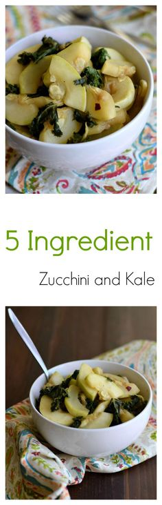 Simple Zucchini and Kale Saute. Just 5 ingredients and 10 minutes. #healthy #vegetables #paleo