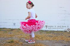 I used to love to dance around in skirts as a young girl. And I always wanted a pettiskirt. My childhood friend had one, and we would wear it, then trade, then dance, then trade, etc. What a pain…….but I loved that thing. And wished it was mine. So making my little girl her own, …
